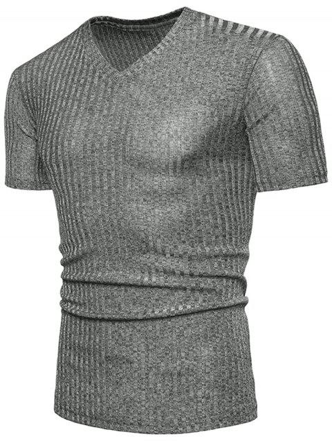 V Neck Knitted T-shirt - SMOKEY GRAY M
