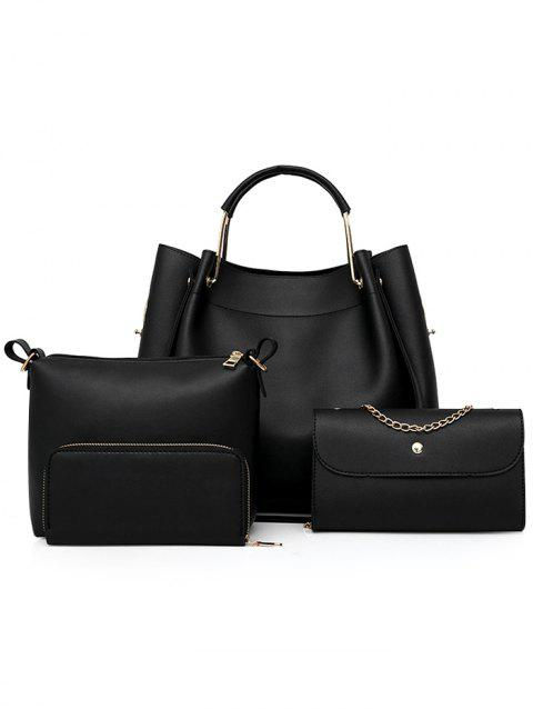 PU Leather Hand Bag Tote Satchel Purse 4 Pieces Set - BLACK