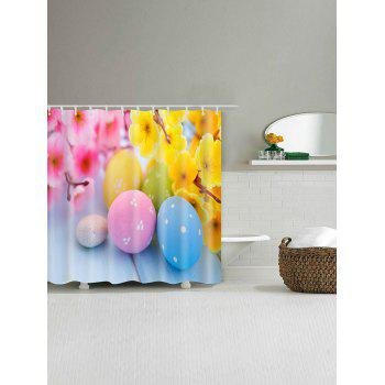 Colorful Flowers Eggs Print Bathroom Shower Curtain - multicolor W71 INCH * L71 INCH