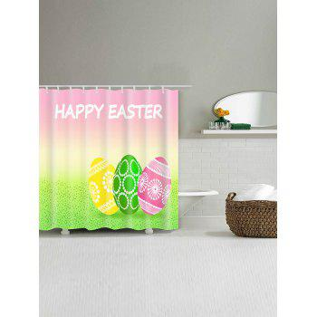 Happy Easter Letter Eggs Print Bathroom Shower Curtain - multicolor W59 INCH * L71 INCH