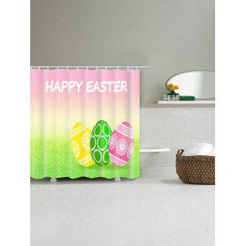 Happy Easter Letter Eggs Print Bathroom Shower Curtain - multicolor W71 INCH * L79 INCH