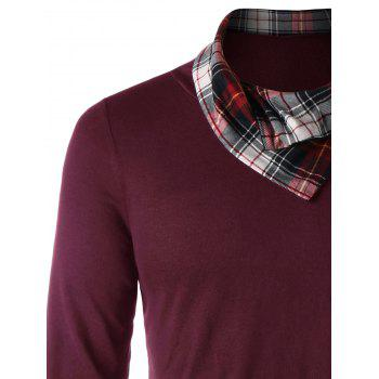 Heaps Collar Plaid Trim Top - WINE RED L