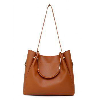 PU Leather Hand Bag Tote Satchel Purse 4 Pieces Set - BROWN