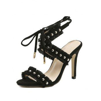 Stiletto Heel Studs Accent Fringe Sandals - BLACK 40