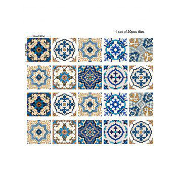 20Pcs Square Traditional Floral Print Antislip Wall Decals - BLUE 8*8 INCH