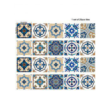 20Pcs Square Traditional Floral Print Antislip Wall Decals - BLUE 6*6 INCH