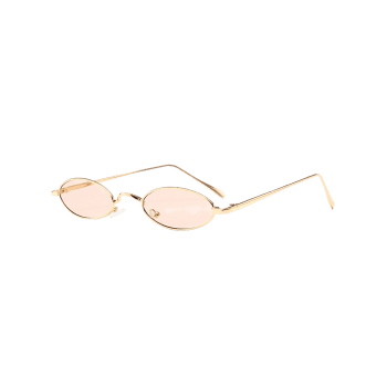 Anti Fatigue Metal Full Frame Oval Sunglasses - NUDE PINK