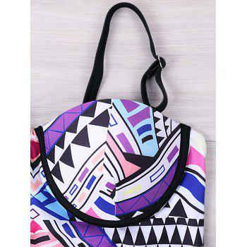 One Piece Tribal Geometric Push Up Swimwear - COLORMIX L