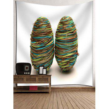 Rope Winding Eggs Print Decor Tapestry - SEA GREEN W79 INCH * L71 INCH