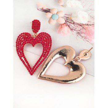 Alloy Rhinestoned Heart Earrings - RED