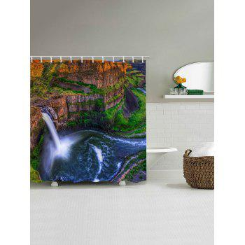 Mountains Waterfall Print Waterproof Shower Curtain - multicolor W71 INCH * L79 INCH