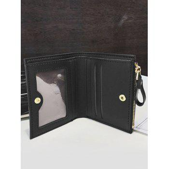 Chic Faux Leather Bi Fold Wallet - BLACK