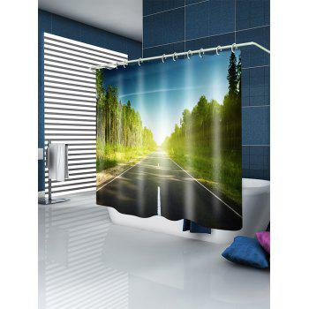 Forest Highway Print Waterproof Shower Curtain - GREEN W59 INCH * L71 INCH
