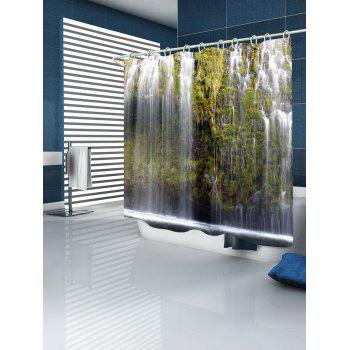 Waterfalls Print Bathroom Shower Curtain - WHITE W59 INCH * L71 INCH