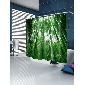Bamboo Forest Print Waterproof Shower Curtain - JUNGLE GREEN W71 INCH * L79 INCH