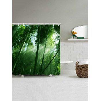 Sunlight Bamboo Forest Pattern Waterproof Shower Curtain - GREEN W59 INCH * L71 INCH