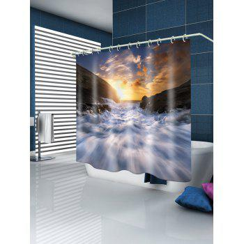 Sunset Torrent Pattern Rideau de douche imperméable - Blanc W71 INCH * L79 INCH