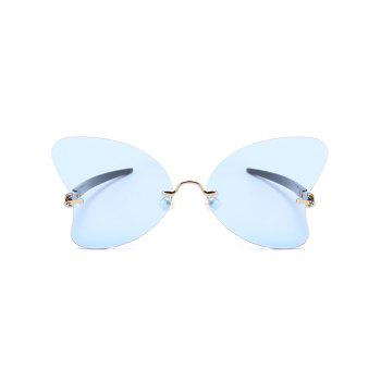 Anti Fatigue Rimless Pearl Butterfly Sunglasses - LIGHT BLUE