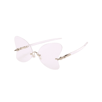 Anti Fatigue Rimless Pearl Butterfly Sunglasses - TRANSPARENT