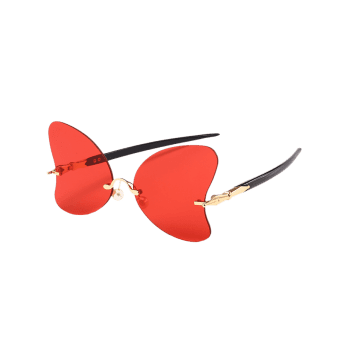 Anti Fatigue Rimless Pearl Butterfly Sunglasses - BRIGHT RED