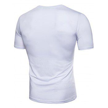 Pleated Design Stretchy T-shirt - WHITE 3XL