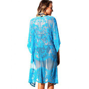 Open Front Lace Sheer Cover Up - BLUE ONE SIZE