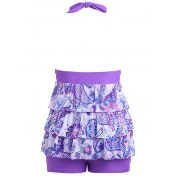 Plus Size Backless Tiered Tankini Set - LIGHT PURPLE XL