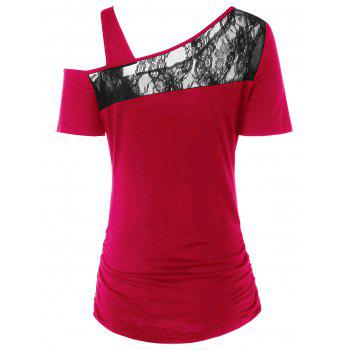 Lace Panel Rose Skew Collar T-shirt - multicolor A XL