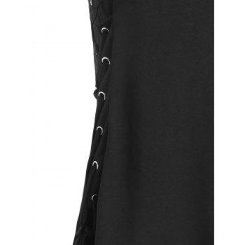 Lace Up Asymmetrical Dress - BLACK M