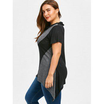 Plus Size Color Block Summer Sharkbite T-shirt - BLACK/GREY 3XL