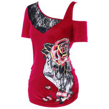 Lace Panel Rose Skew Collar T-shirt - multicolor A M