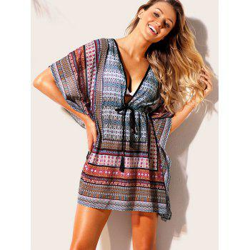 Print Drawstring Cover Up Dress - BLUE L