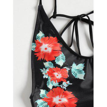 One Piece Floral High Leg Swimwear - BLACK L