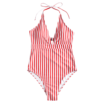 One Piece High Cut Stripe Swimwear - RED/WHITE M
