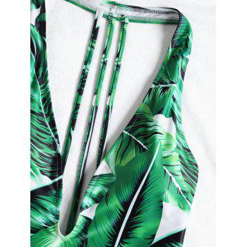 Tropical Leaf Padded One Piece Swimsuit - SHAMROCK GREEN L