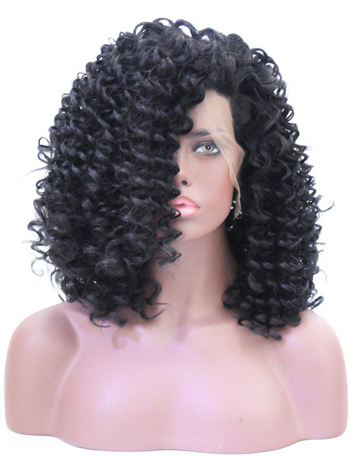 Long Inclined Bang Shaggy Curly Lace Front Synthetic Wig - BLACK 16INCH