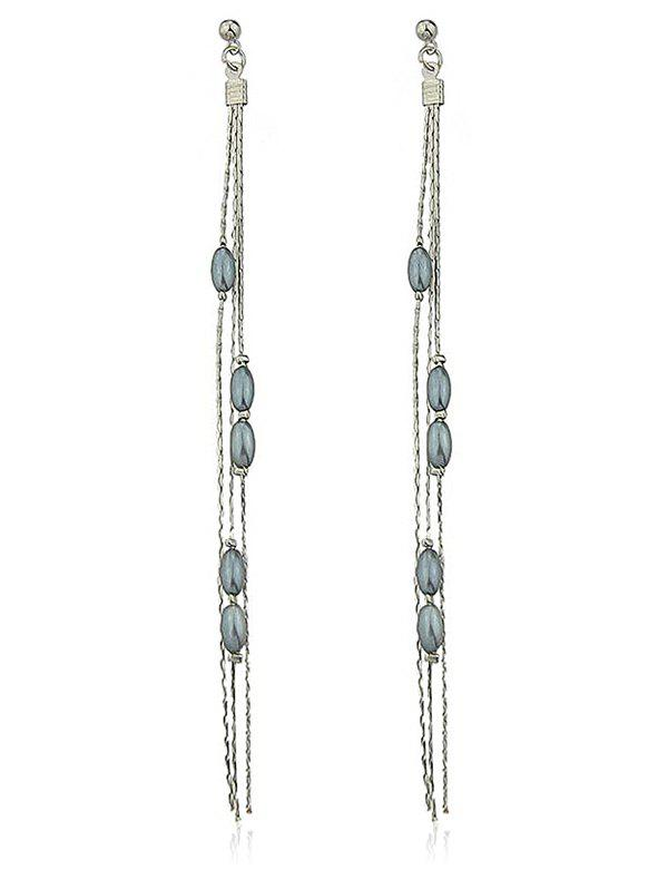 String Beads Long Drop Stud Earrings - SILVER