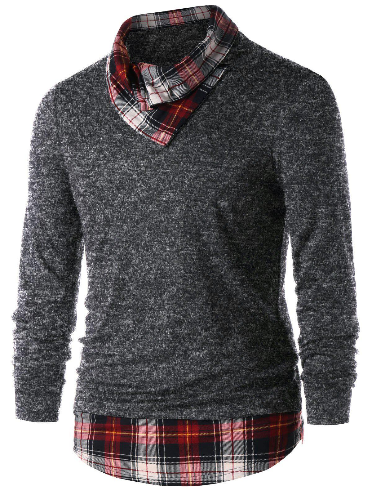 Heaps Collar Plaid Trim Top - DARK GRAY L