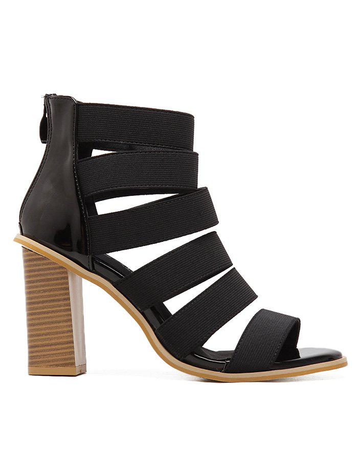 Wooden Heel Elasticized Strappy Sandals - BLACK 38