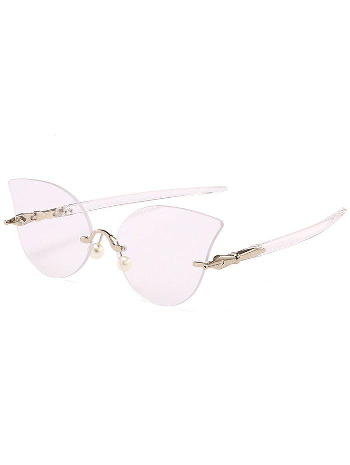 Unique Rimless Pearl Sun Shades Sunglasses - PINK / WHITE