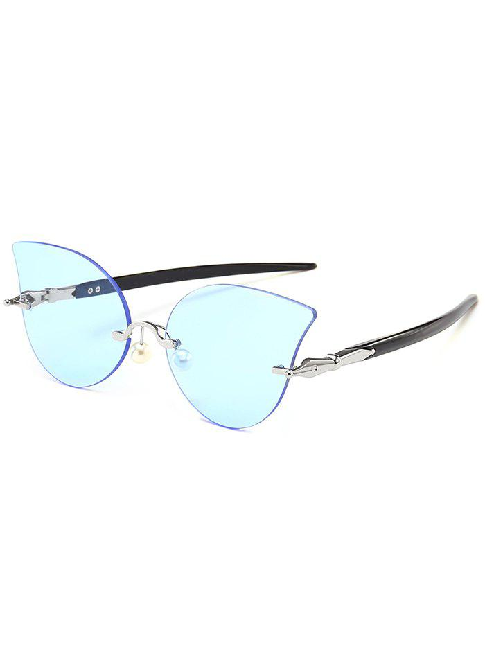 Unique Rimless Pearl Sun Shades Sunglasses - LIGHT BLUE