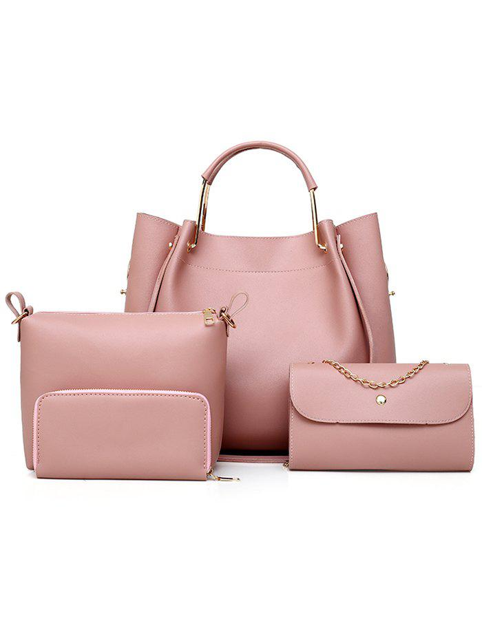 PU Leather Hand Bag Tote Satchel Purse 4 Pieces Set - PINK