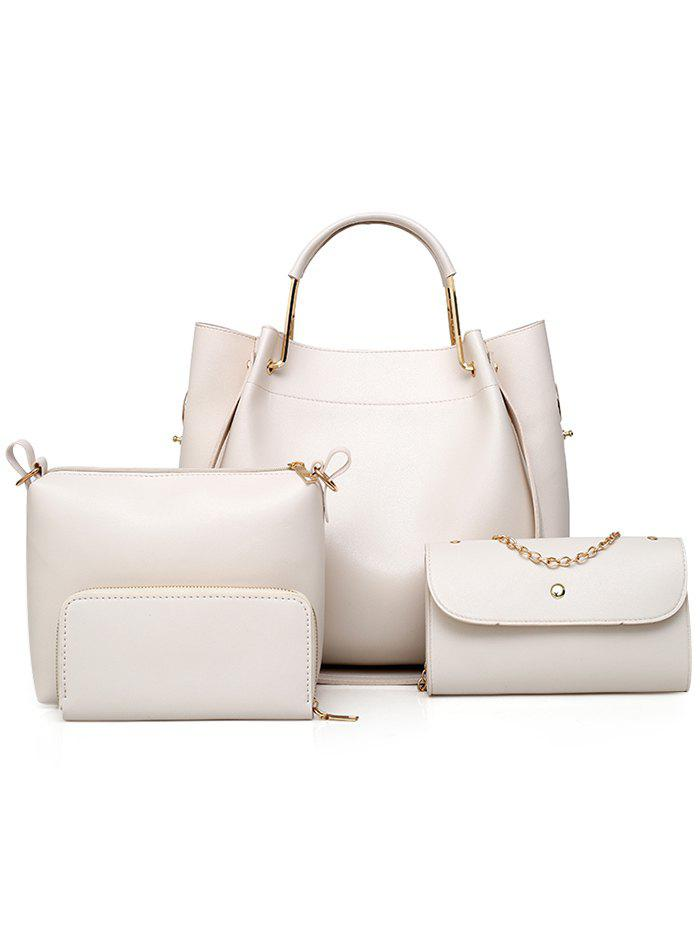 PU Leather Hand Bag Tote Satchel Purse 4 Pieces Set - WHITE