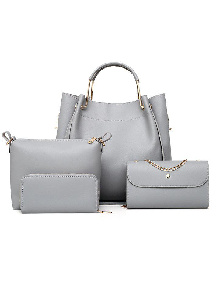 PU Leather Hand Bag Tote Satchel Purse 4 Pieces Set - GRAY