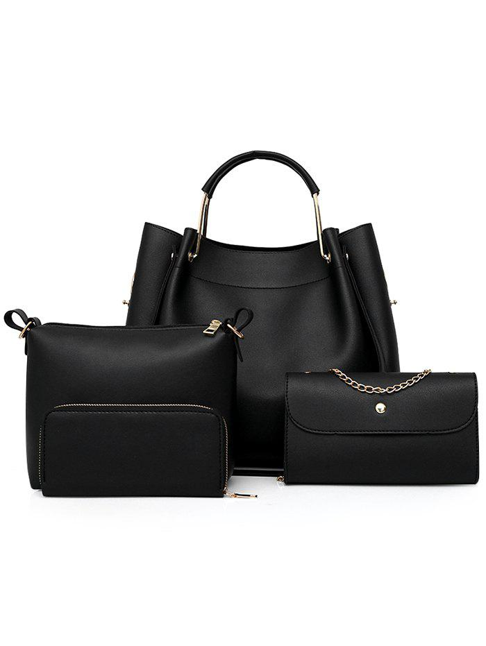 PU Leather Hand Bag Tote Satchel Purse 4 Pieces Set embossed pu leather casual 3 pieces tote bag set