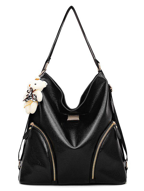 PU Leather Multifunctional Zipper Decor Shoulder Bag - BLACK
