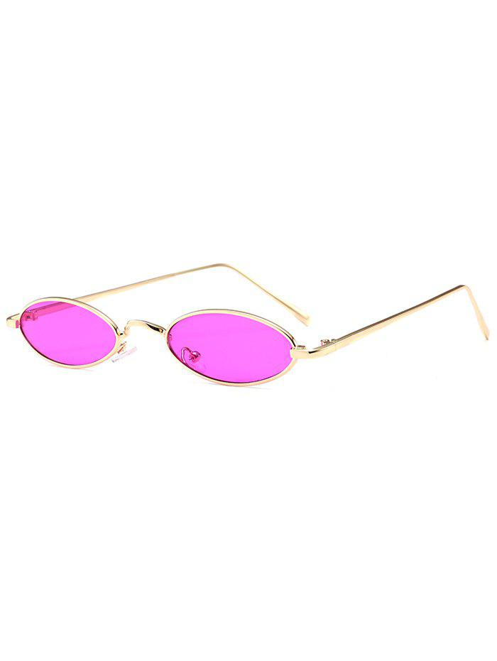 Anti Fatigue Metal Full Frame Oval Sunglasses - PURPLISH RED