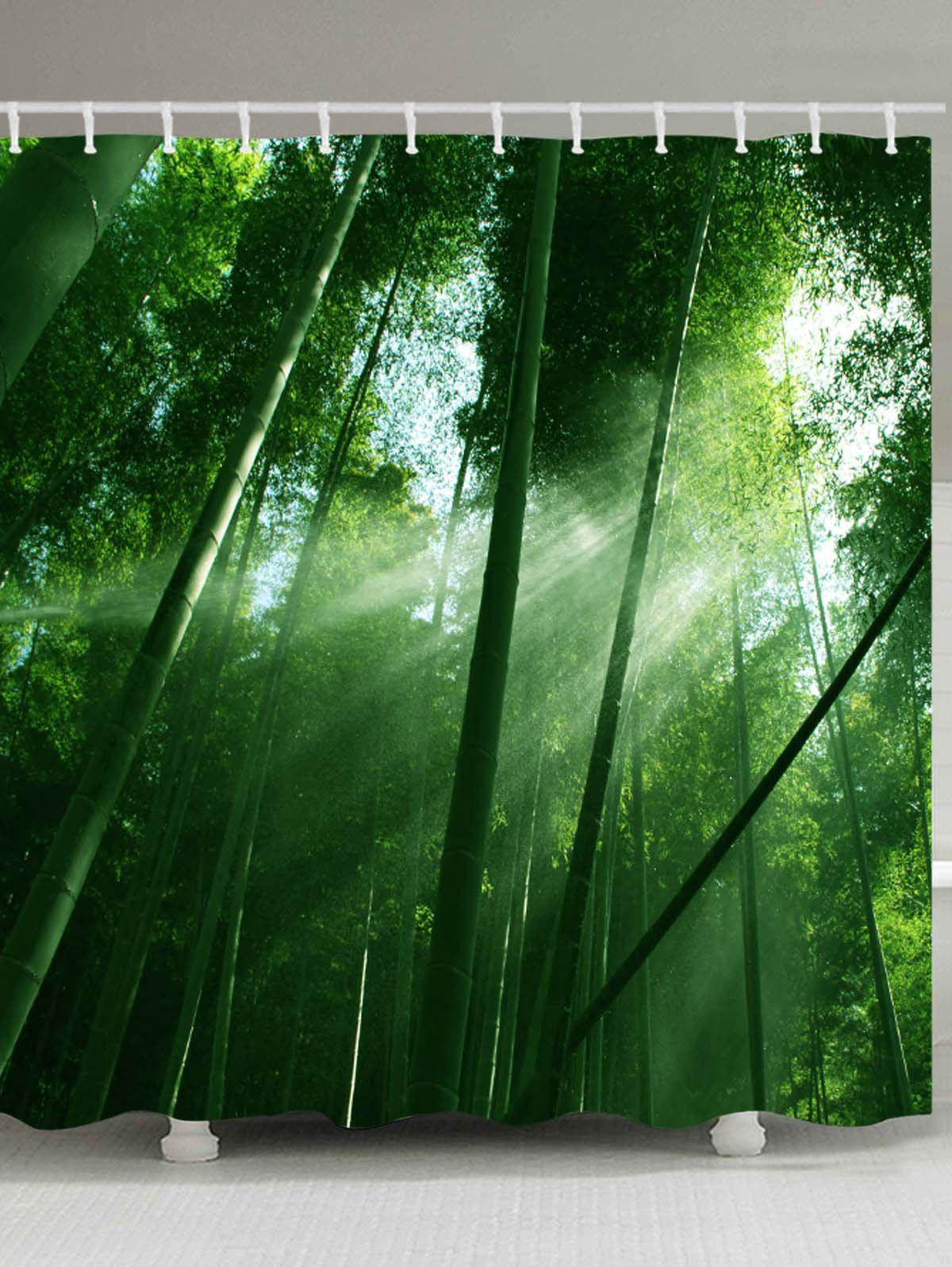 Sunlight Bamboo Forest Pattern Waterproof Shower Curtain - GREEN W71 INCH * L79 INCH