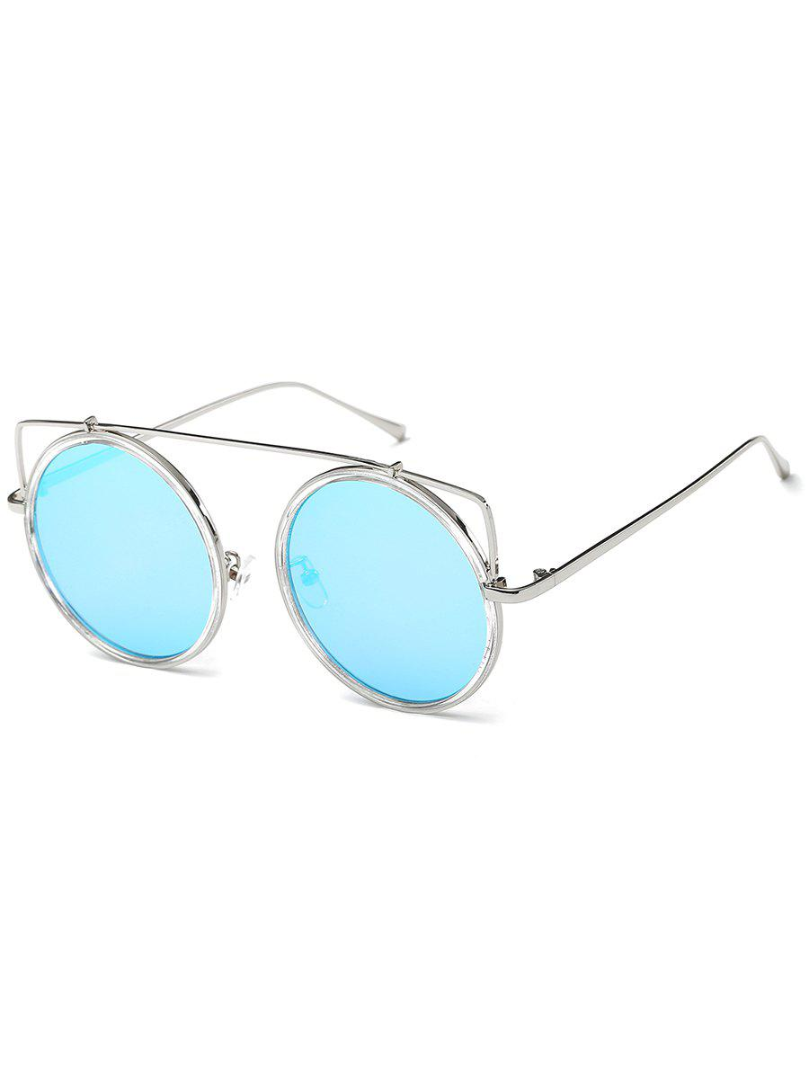 Anti Fatigue Metal Frame Crossbar Round Sunglasses - SILVER FRAME/BLUE MERCURY LENS