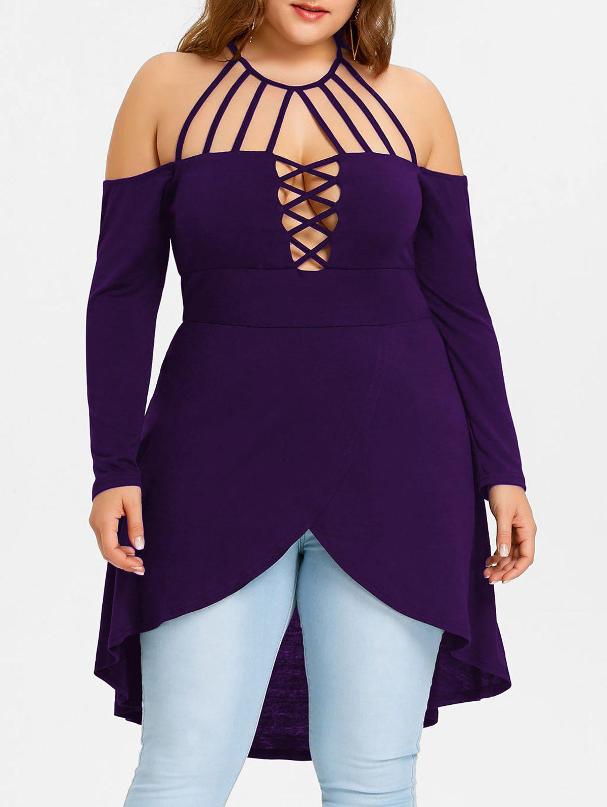 Plus Size Dip Hem Strappy Tunic Tee - PURPLE XL